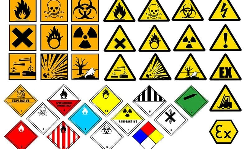 range of different chemical hazard pictographs