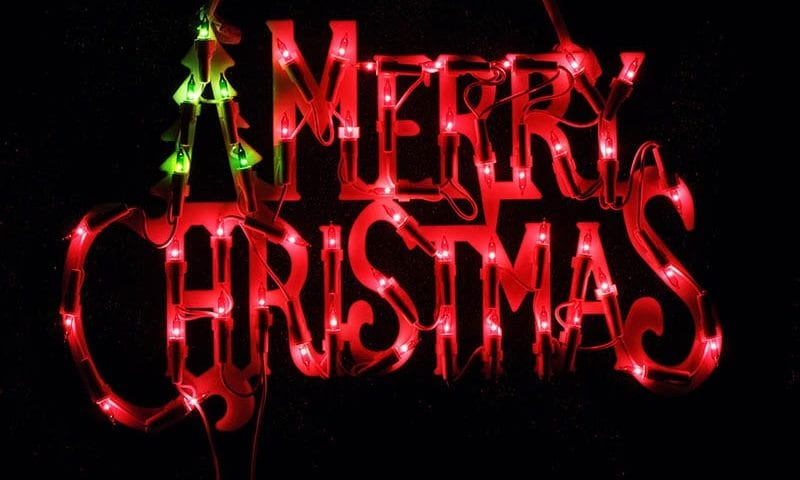merry Christmas words with lights around
