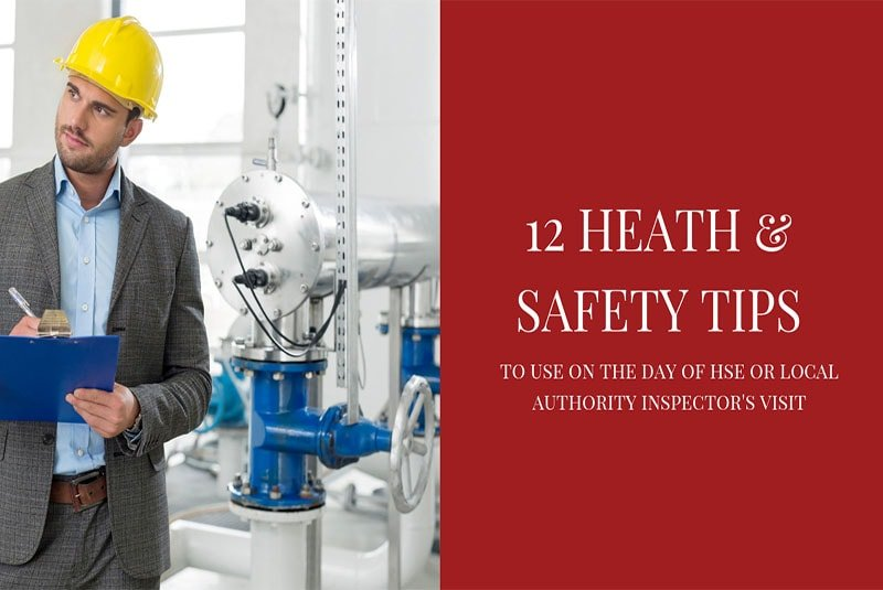 health and safety tips written on slide with inspector